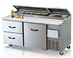 Tor-rey Refrigerated Pizza/Sandwich 2Drawer 1Door Prep Table wCasters PTP-170-21